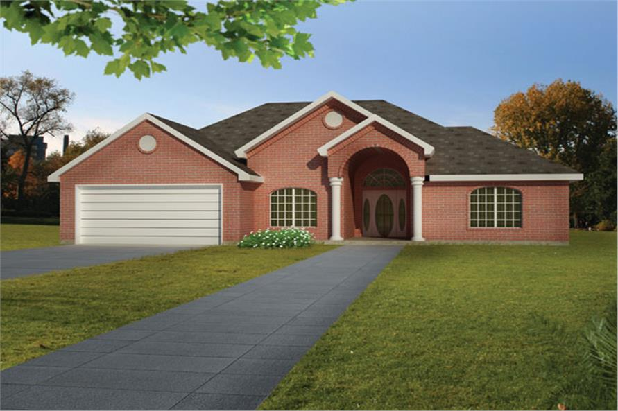 Front elevation of Ranch home (ThePlanCollection: House Plan #191-1019)