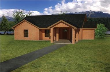 3-Bedroom, 1031 Sq Ft Southwest House Plan - 191-1021 - Front Exterior