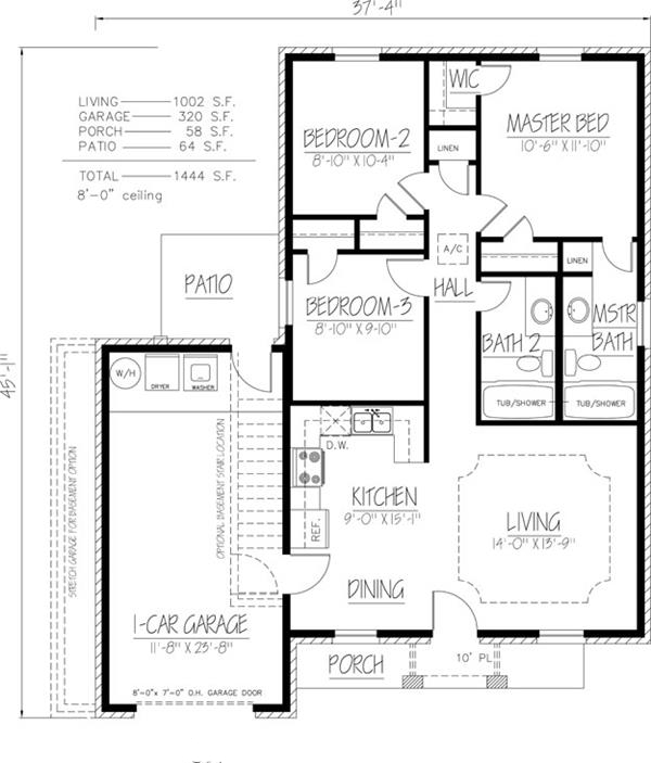 Southwest house plan 191 1022 3 bedrm 1002 sq ft home for Southwest house plans