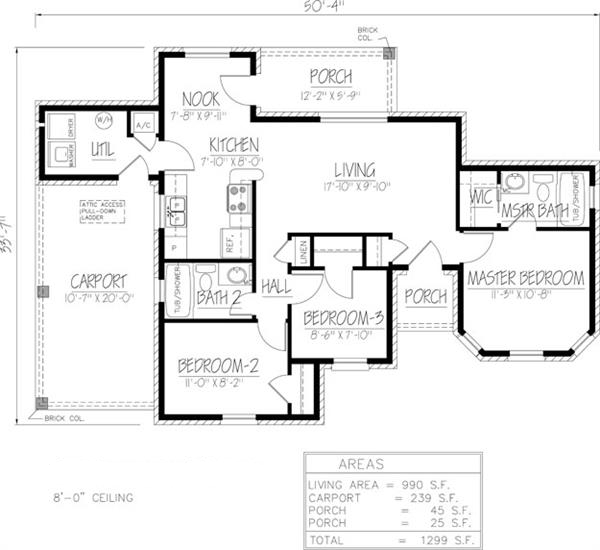 Southwest house plan 191 1026 3 bedrm 990 sq ft home for Southwest house floor plans