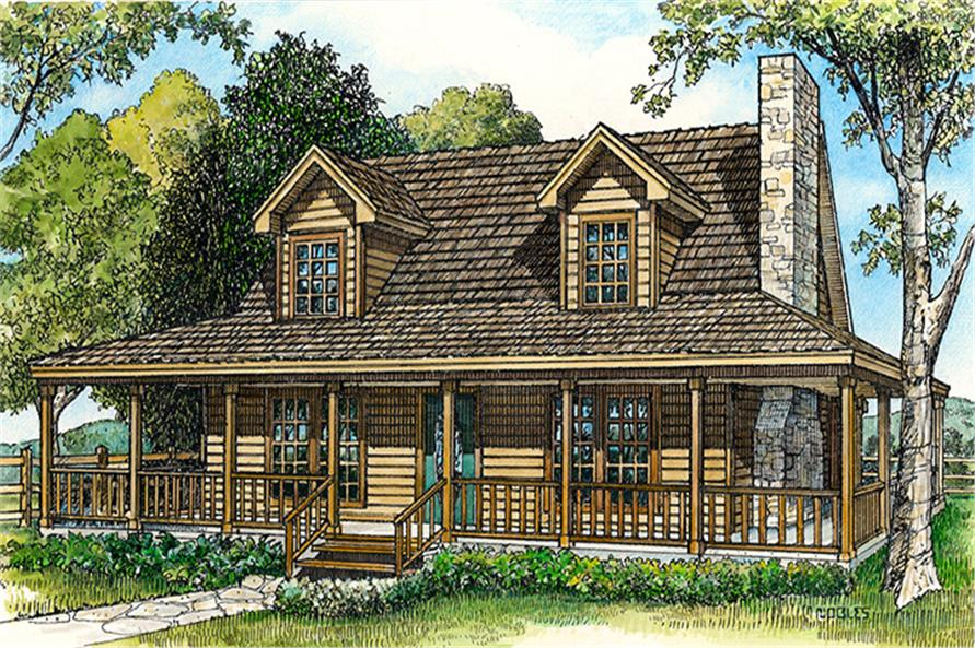 Front elevation of Country home (ThePlanCollection: House Plan #192-1000)