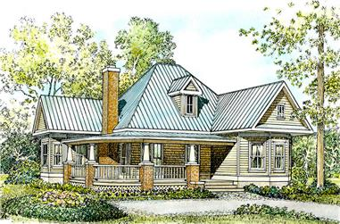 Front elevation of Cottage home (ThePlanCollection: House Plan #192-1001)