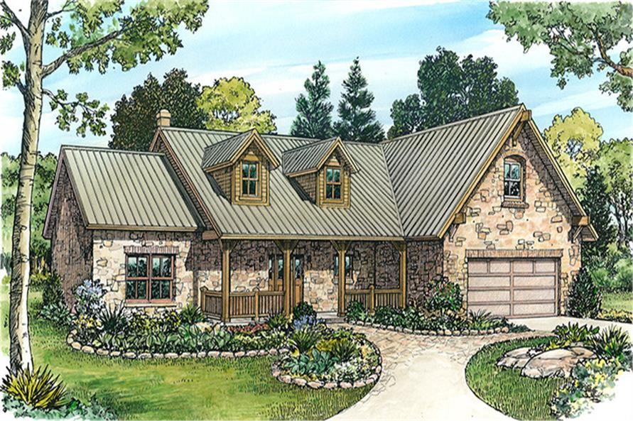 Front elevation of Country home (ThePlanCollection: House Plan #192-1002)