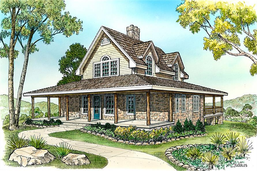 Front elevation of Cottage home (ThePlanCollection: House Plan #192-1004)