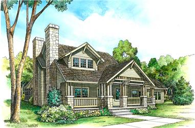 Front elevation of Bungalow home (ThePlanCollection: House Plan #192-1008)