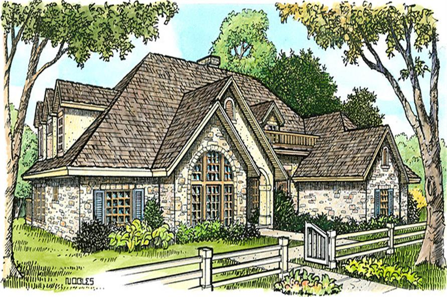 Front elevation of European home (ThePlanCollection: House Plan #192-1009)
