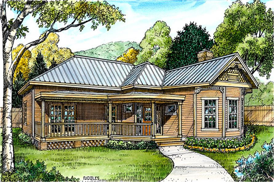 Front elevation of Cottage home (ThePlanCollection: House Plan #192-1011)