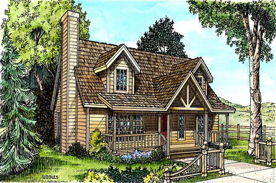 Front elevation of Bungalow home (ThePlanCollection: House Plan #192-1012)