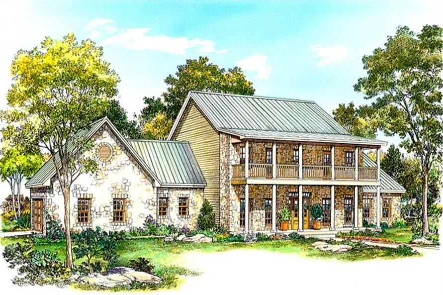 Front elevation of Country home (ThePlanCollection: House Plan #192-1013)