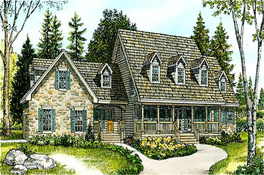 Front elevation of Country home (ThePlanCollection: House Plan #192-1015)