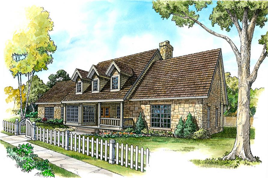 Front elevation of Country home (ThePlanCollection: House Plan #192-1017)