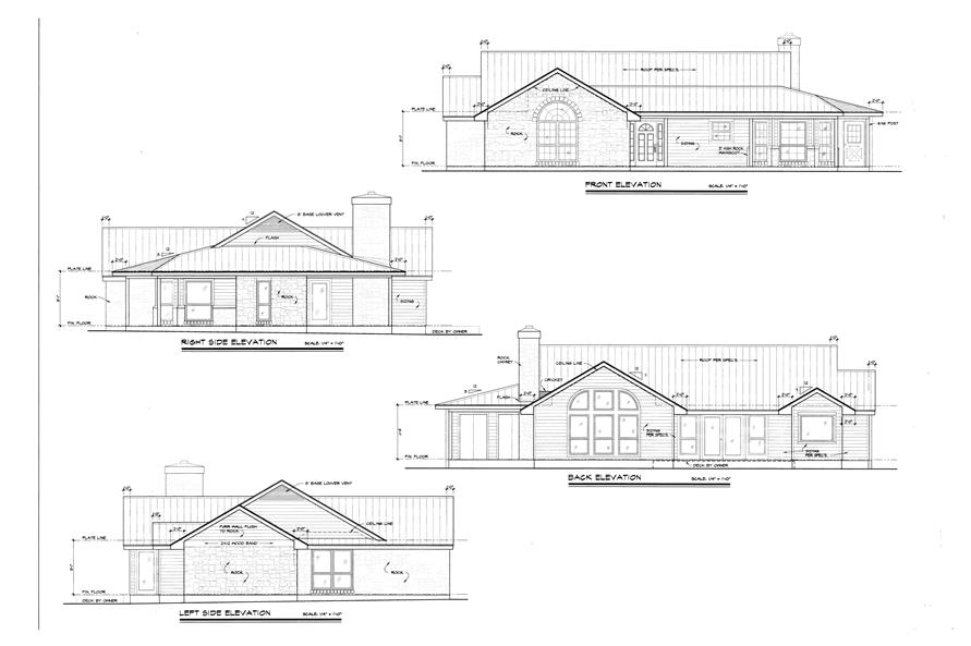 Home Plan Left Elevation of this 3-Bedroom,1963 Sq Ft Plan -192-1018