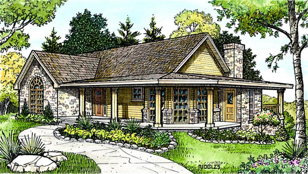 Front elevation of Country home (ThePlanCollection: House Plan #192-1018)
