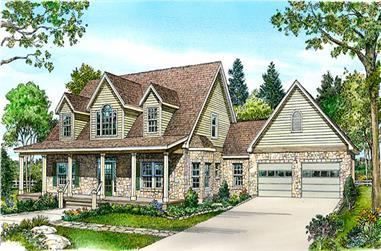 3-Bedroom, 2728 Sq Ft Country Home Plan - 192-1019 - Main Exterior