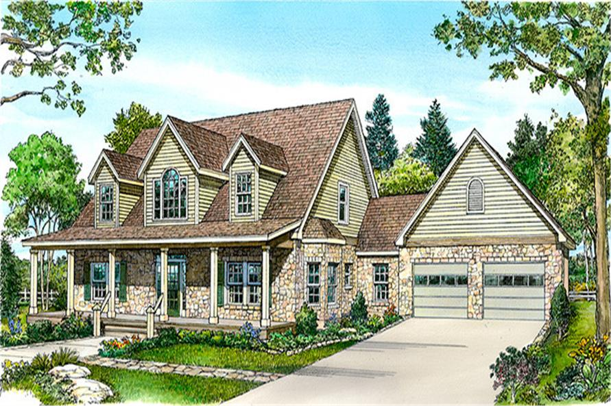 Front elevation of Country home (ThePlanCollection: House Plan #192-1019)