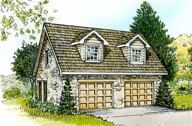 0-Bedroom, 566 Sq Ft Garage Home Plan - 192-1020 - Main Exterior
