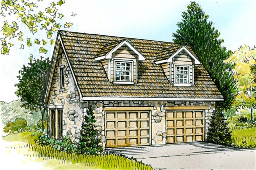 Front elevation of Country-Style garage (ThePlanCollection: House Plan #192-1020)