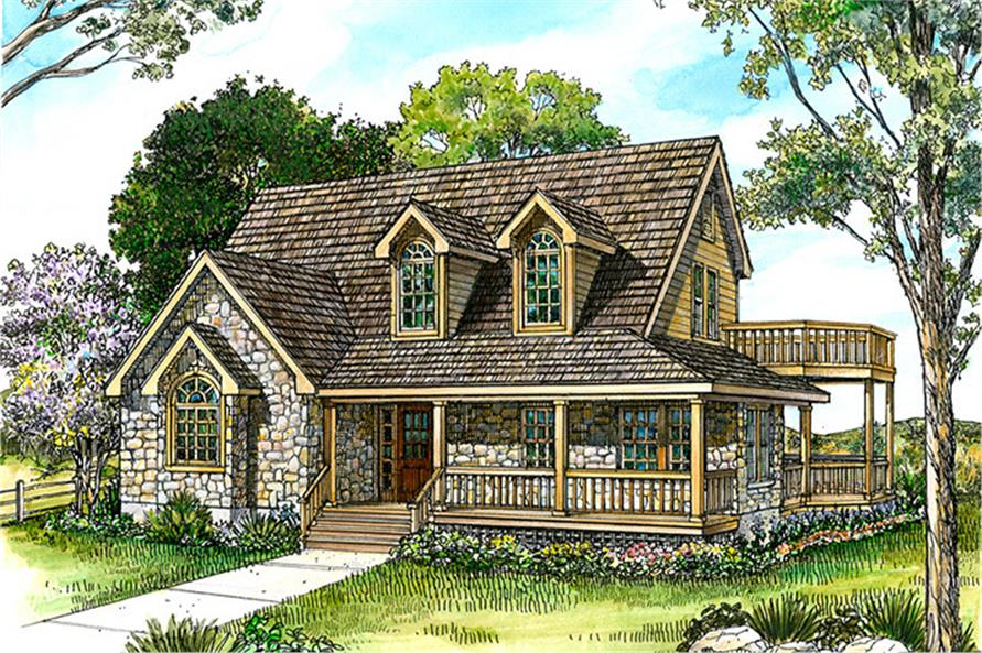 Front elevation of Country home (ThePlanCollection: House Plan #192-1021)
