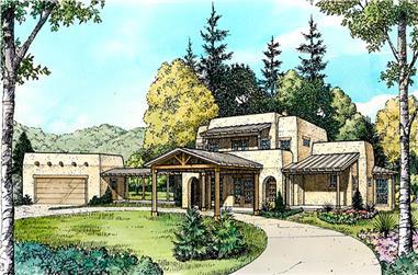 4-Bedroom, 2840 Sq Ft Southwest Home Plan - 192-1022 - Main Exterior
