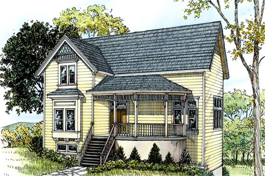 Front elevation of Country home (ThePlanCollection: House Plan #192-1024)