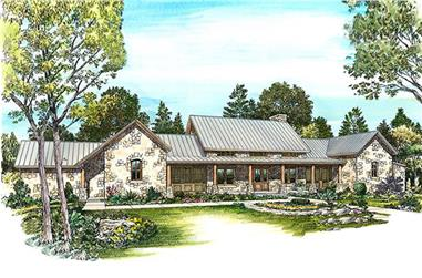 Color rendering of Contemporary home plan (ThePlanCollection: House Plan #192-1027)