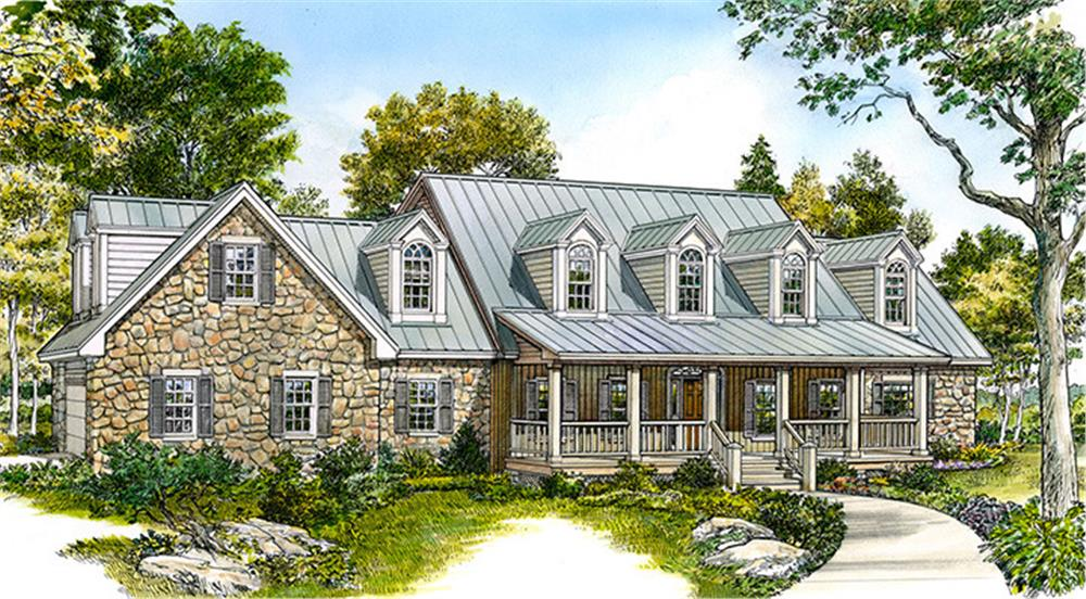 Front elevation of Cottage home (ThePlanCollection: House Plan #192-1028)