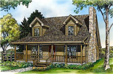 Front elevation of Country home (ThePlanCollection: House Plan #192-1029)