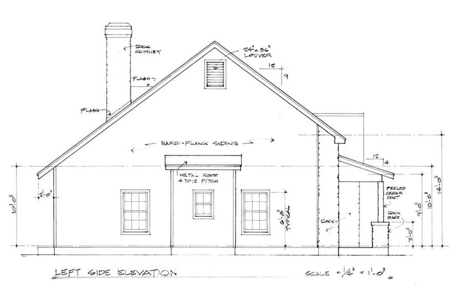 Home Plan Left Elevation of this 3-Bedroom,2125 Sq Ft Plan -192-1030