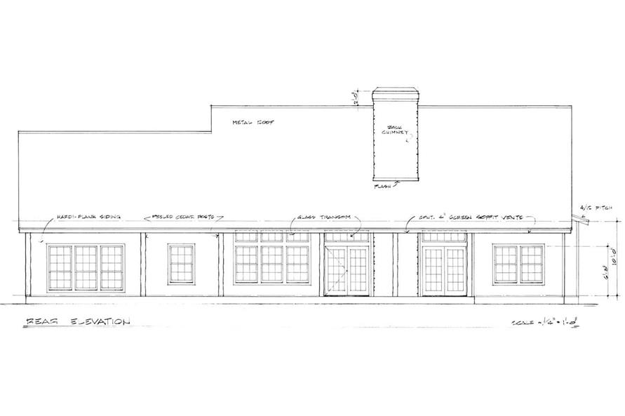 Home Plan Rear Elevation of this 3-Bedroom,2125 Sq Ft Plan -192-1030
