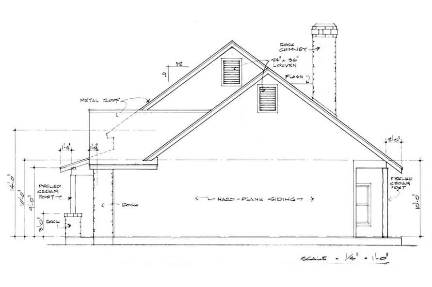 Home Plan Right Elevation of this 3-Bedroom,2125 Sq Ft Plan -192-1030