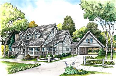 Front elevation of Country home (ThePlanCollection: House Plan #192-1031)