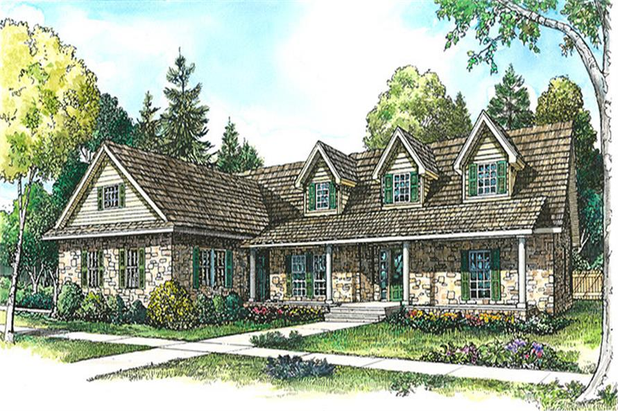 Front elevation of Country home (ThePlanCollection: House Plan #192-1032)