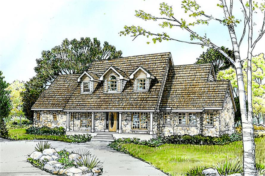 Front elevation of Country home (ThePlanCollection: House Plan #192-1036)