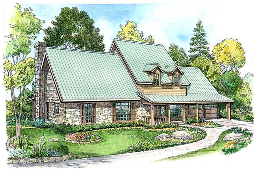 Front elevation of Country home (ThePlanCollection: House Plan #192-1037)