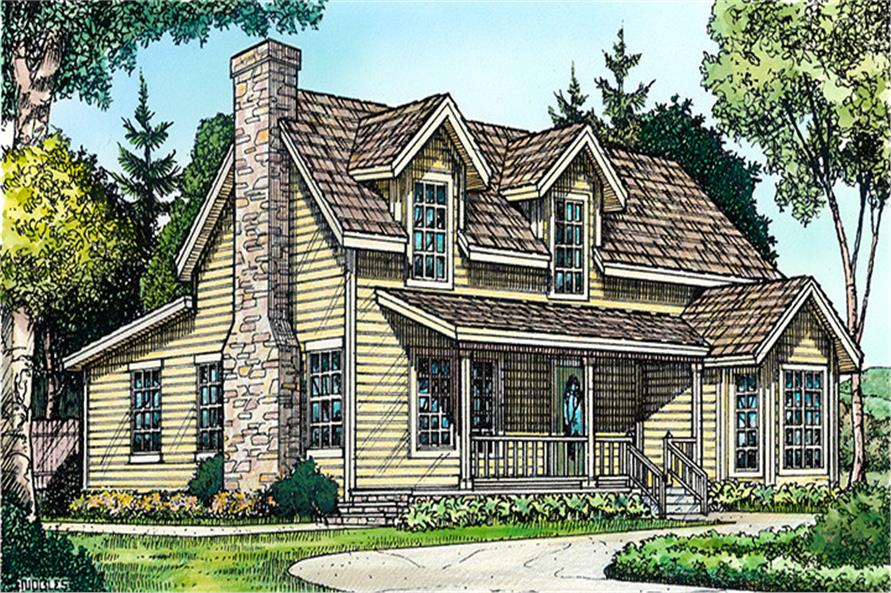 Front elevation of Country home (ThePlanCollection: House Plan #192-1038)