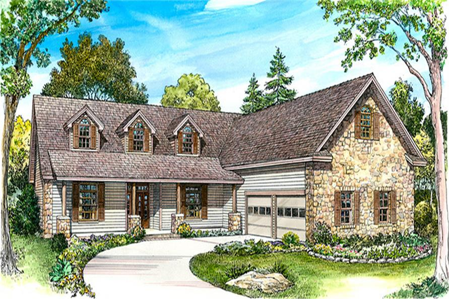 Front elevation of Country home (ThePlanCollection: House Plan #192-1040)