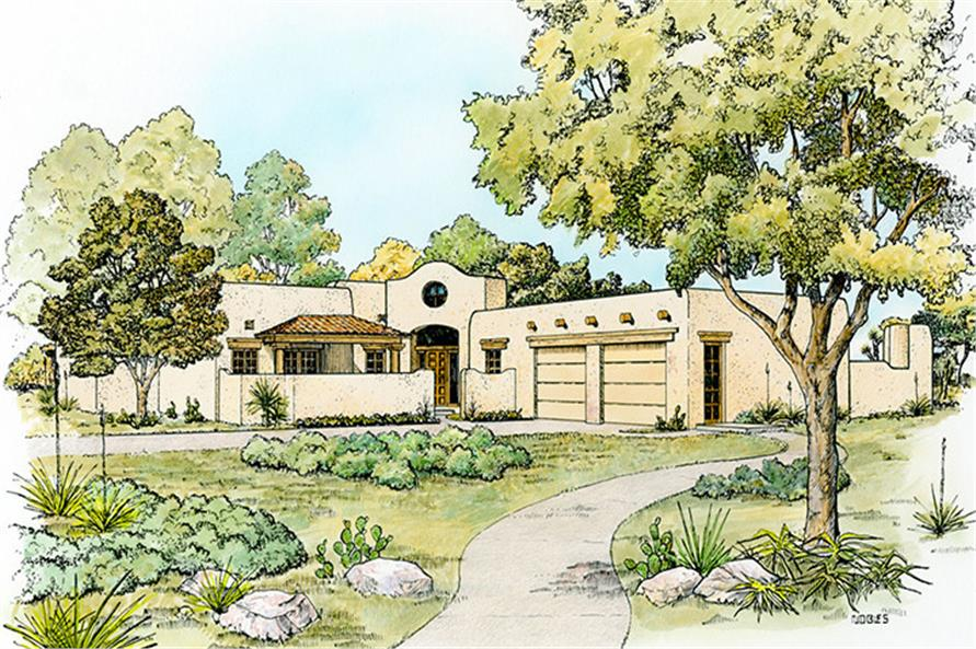 4-Bedroom, 2596 Sq Ft Southwest Home Plan - 192-1041 - Main Exterior
