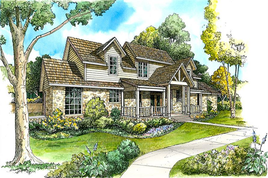 Front elevation of Country home (ThePlanCollection: House Plan #192-1042)