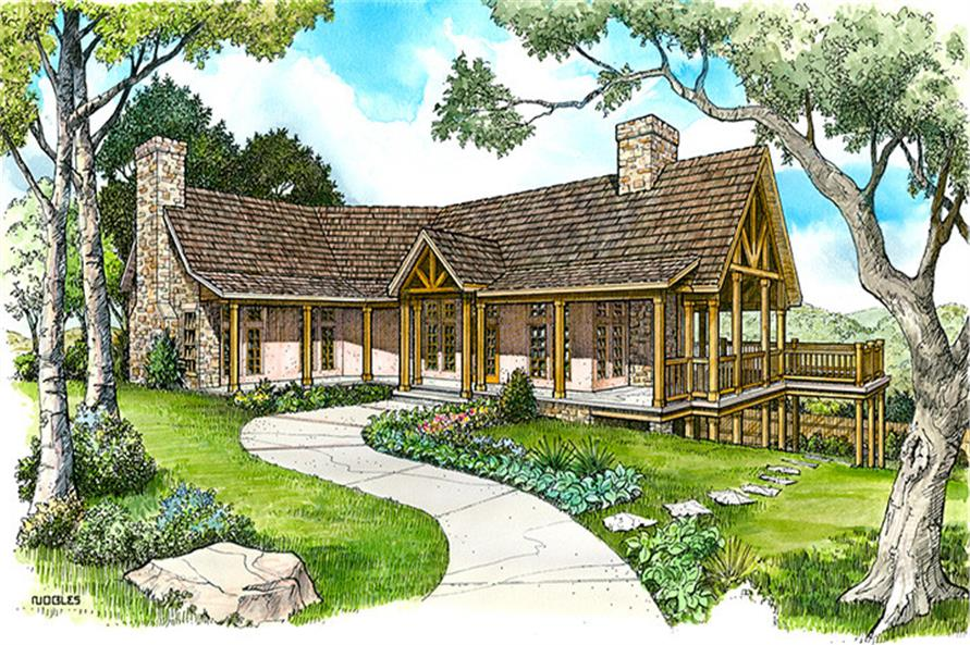 Front elevation of Country home (ThePlanCollection: House Plan #192-1043)