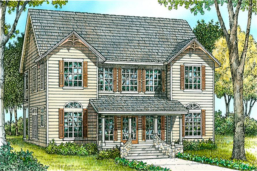Front elevation of Country home (ThePlanCollection: House Plan #192-1045)