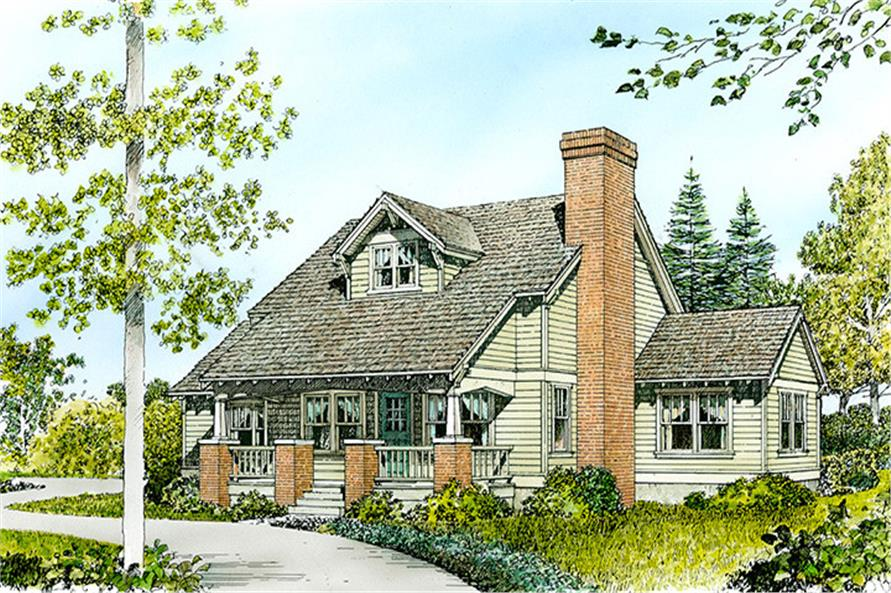 Front elevation of Cottage home (ThePlanCollection: House Plan #192-1046)