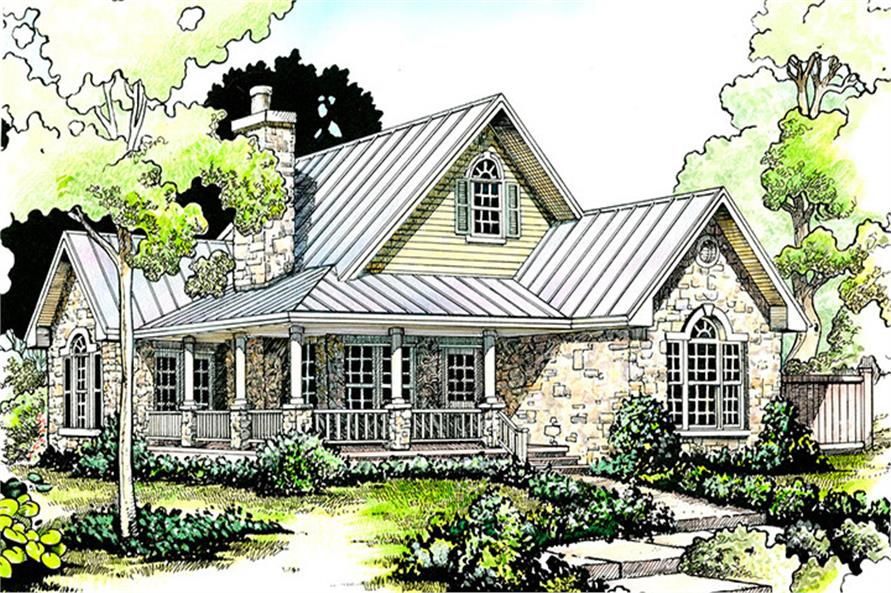 Front elevation of Cottage home (ThePlanCollection: House Plan #192-1047)