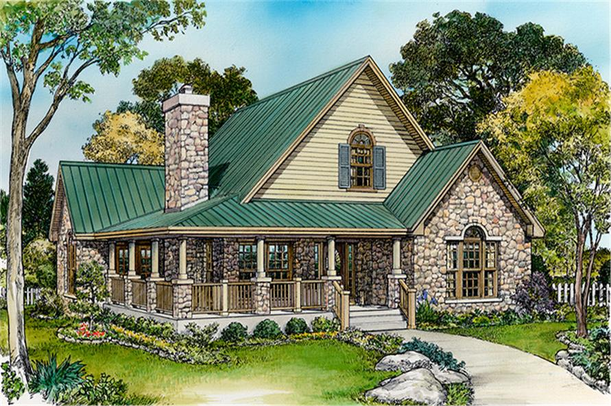 Front elevation of Country home (ThePlanCollection: House Plan #192-1048)
