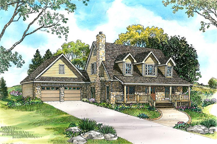 Front elevation of Country home (ThePlanCollection: House Plan #192-1049)