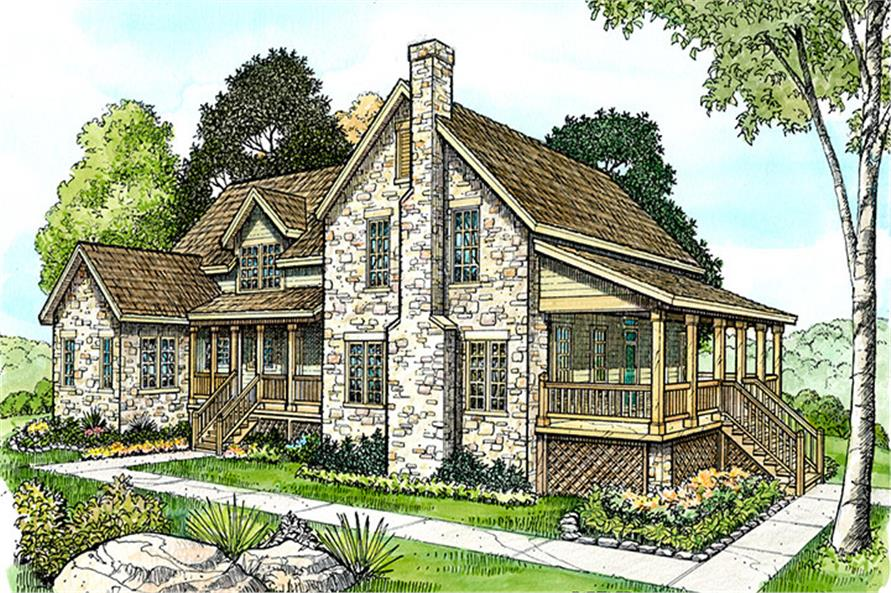 Front elevation of Country home (ThePlanCollection: House Plan #192-1050)