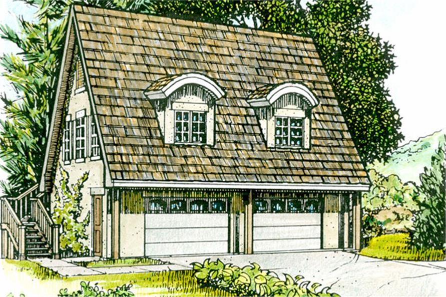 Color rendering of Cottage style Garage plan (ThePlanCollection: House Plan #192-1052)