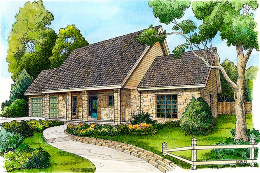 Front elevation of Country home (ThePlanCollection: House Plan #192-1053)