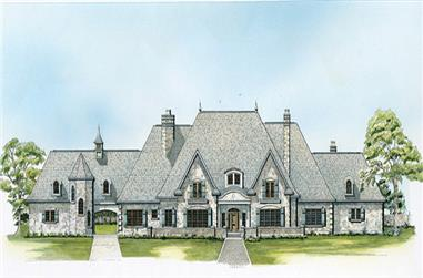 Front elevation of European home (ThePlanCollection: House Plan #192-1054)