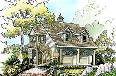 Front elevation of Cottage home (ThePlanCollection: House Plan #192-1055)