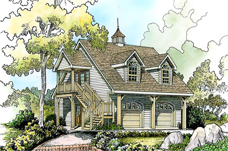 1-Bedroom, 712 Sq Ft Cottage House Plan - 192-1055 - Front Exterior